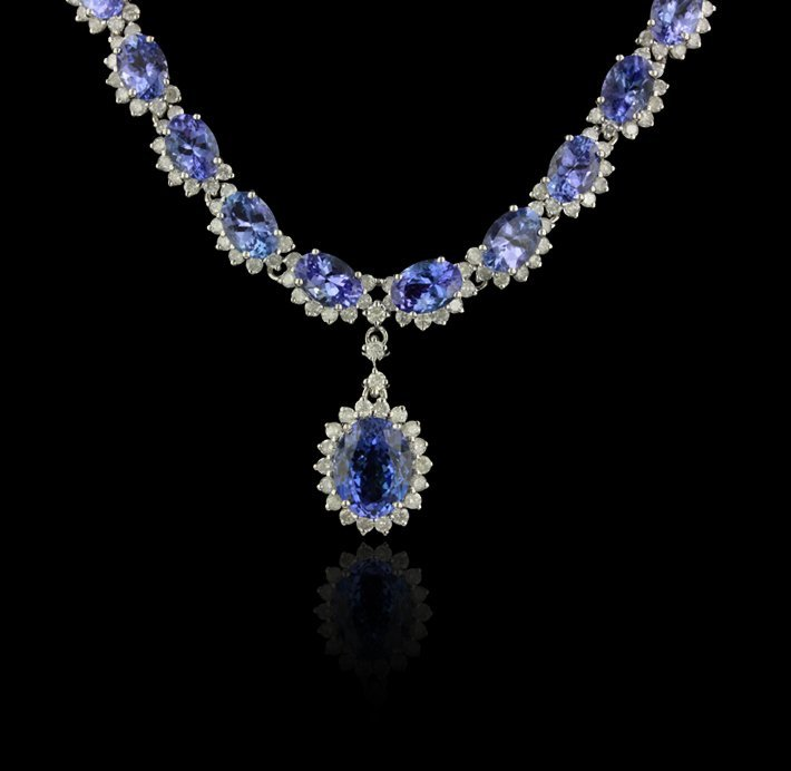 14KT White Gold 30.76ctw Tanzanite and Diamond Necklace