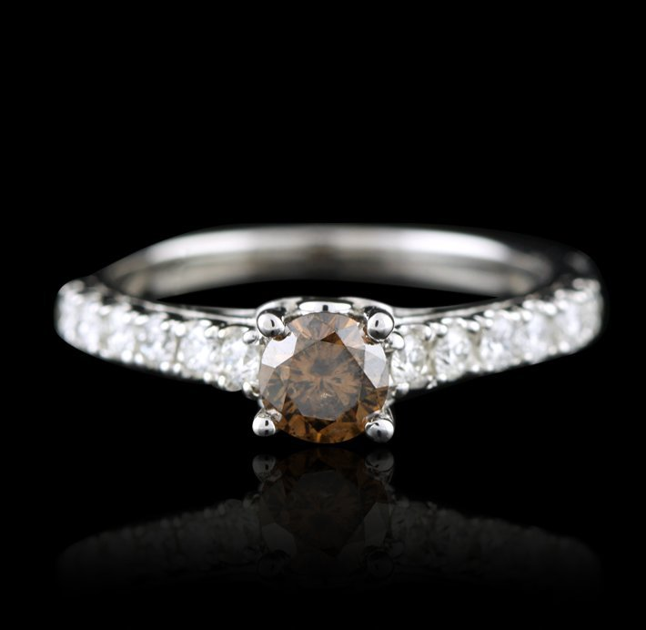 14KT White Gold 0.96ctw Diamond Ring A4899