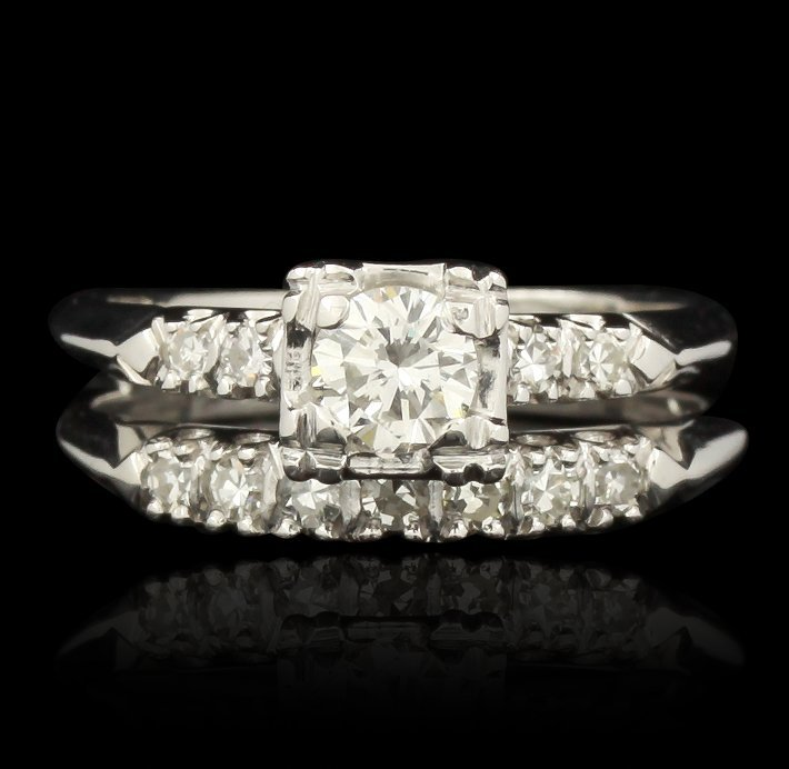 14KT White Gold 1.00ctw Diamond Wedding Ring Set GB1902
