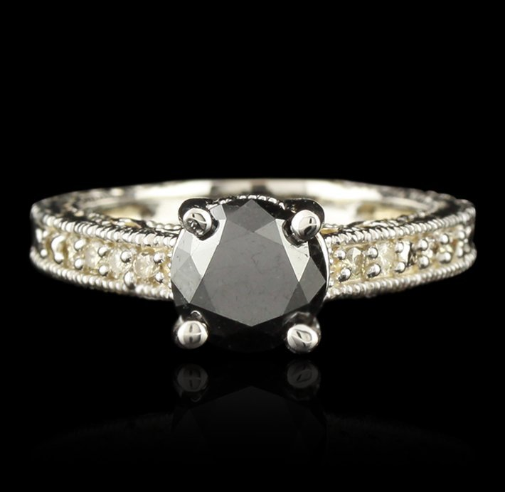 14KT White Gold 1.82ct Black and White Diamond Ring