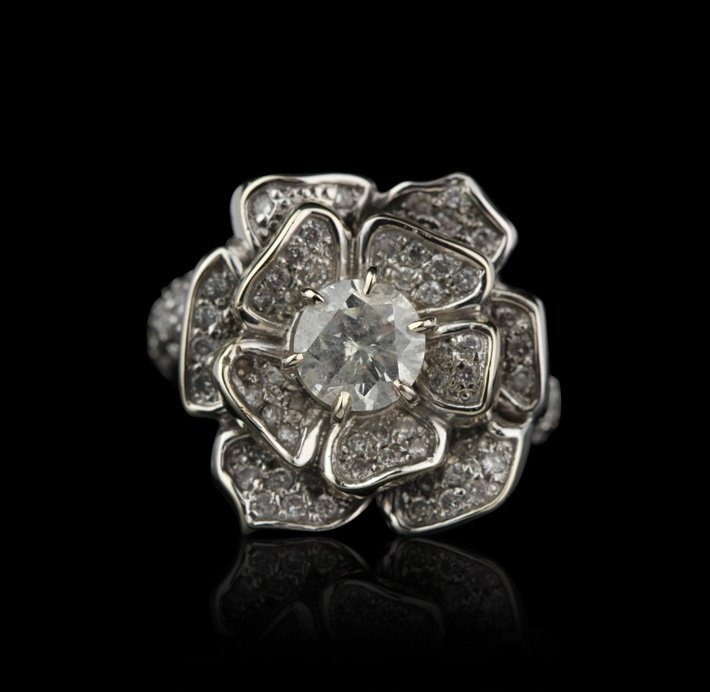 14KT White Gold 1.80ctw Diamond Flower Ring GB844