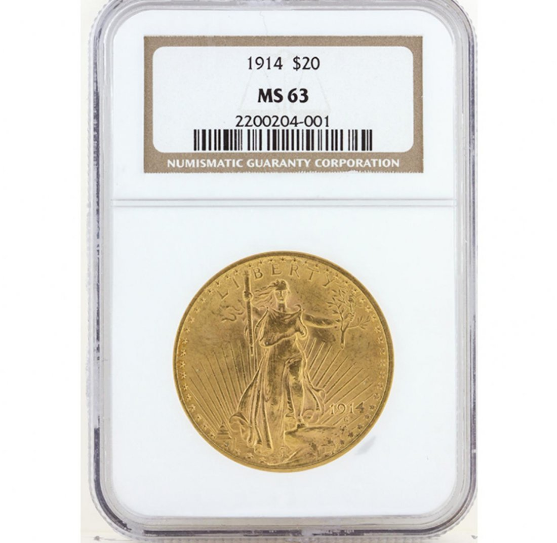 1914 $20 NGC MS63 St. Gaudens Double Eagle Gold Coin