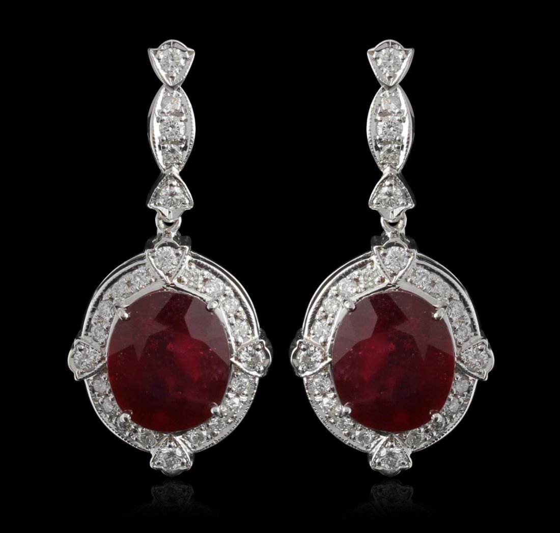 14KT White Gold 18.78ctw Ruby and Diamond Earrings