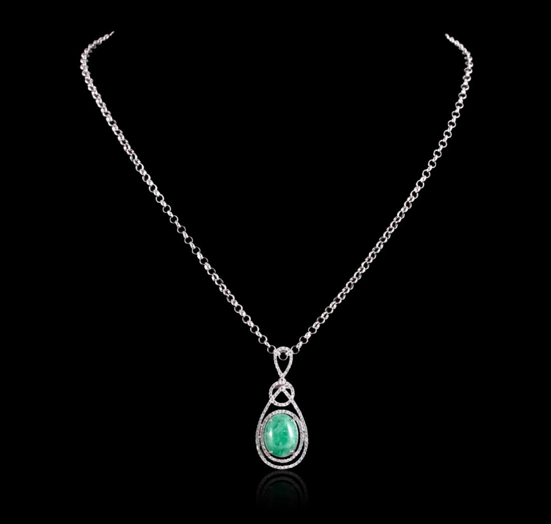 SILVER 6.86ct Emerald and White Sapphire Necklace