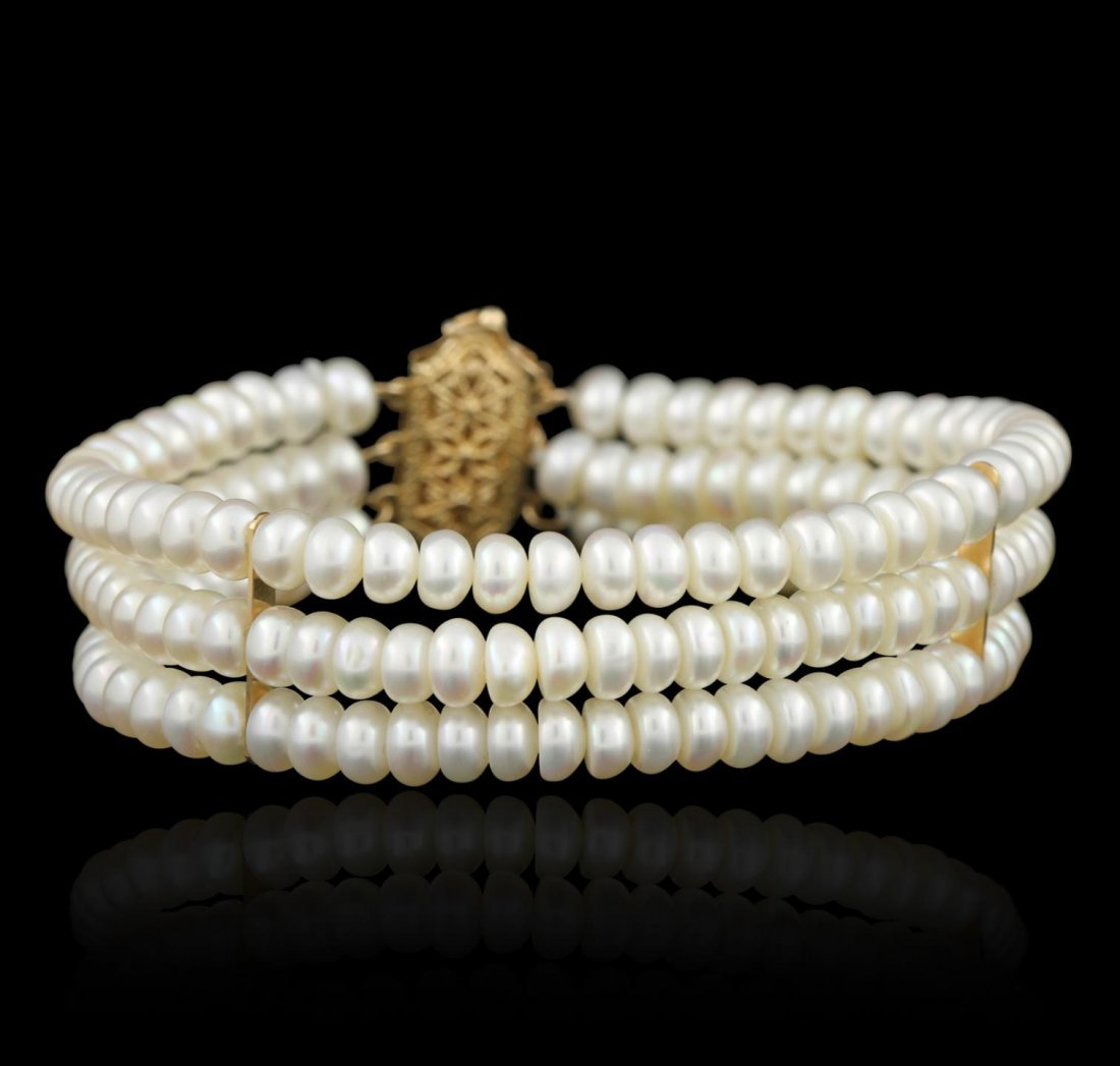 14KT Yellow Gold Pearl Bracelet GB2341