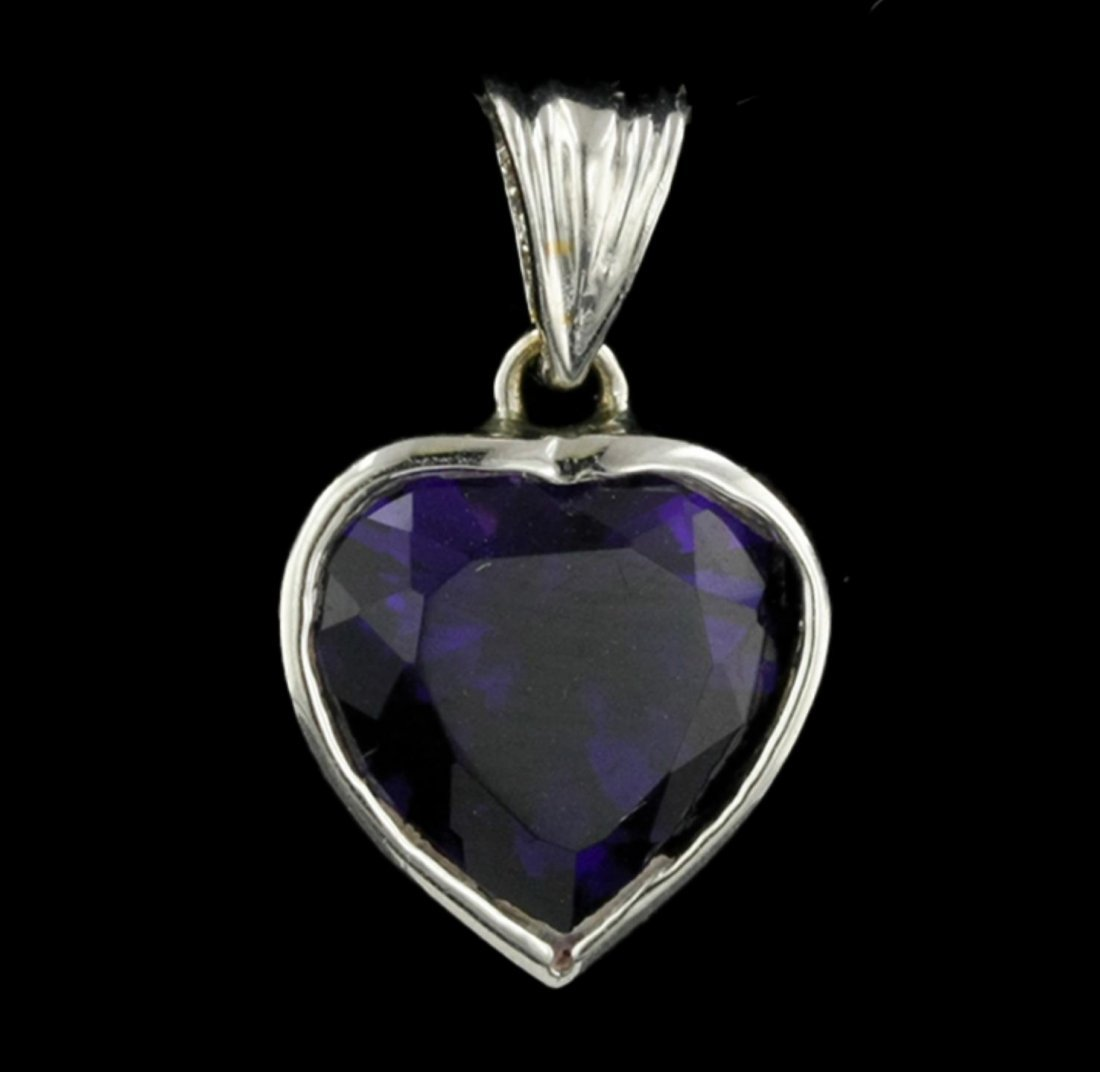 14KT White Gold 3.00ct Heart Shaped Amethyst Pendant