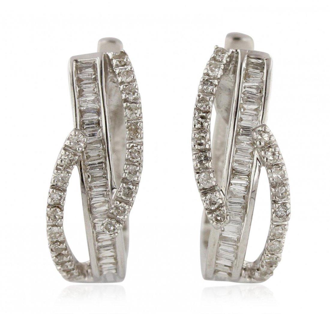 18KT White Gold 0.53ctw Diamond Earrings FJM3118