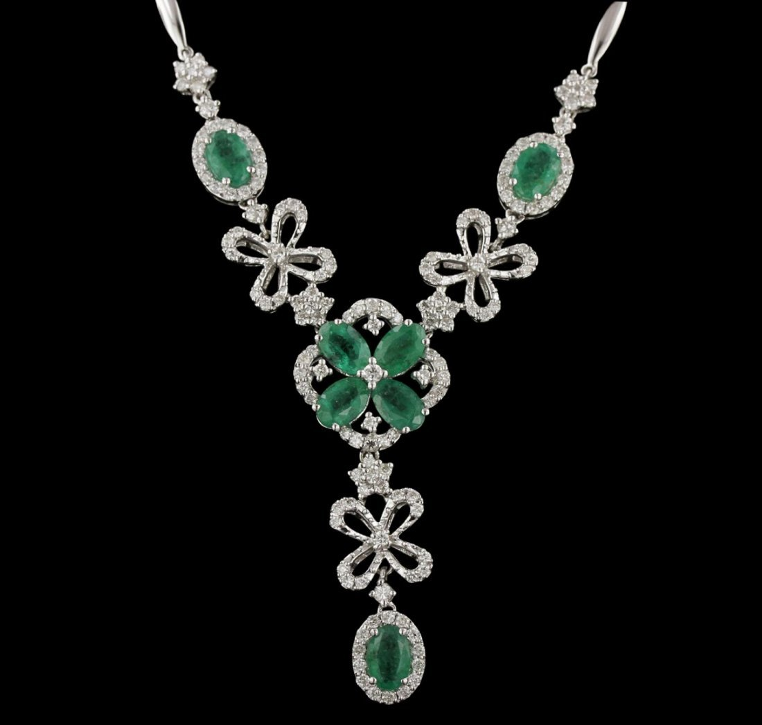 14KT White Gold 2.80ctw Emerald and Diamond Necklace
