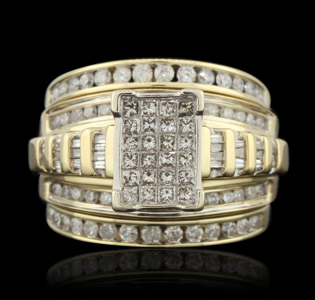 14KT Yellow Gold 1.00ctw Diamond Wedding Set GB3324