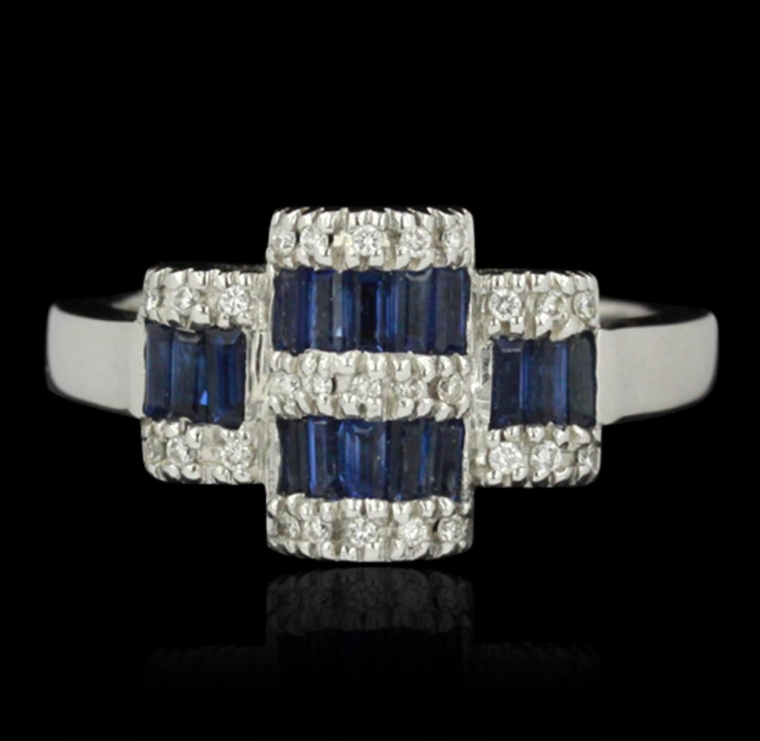 14KT White Gold 0.86ctw Sapphire and Diamond Ring