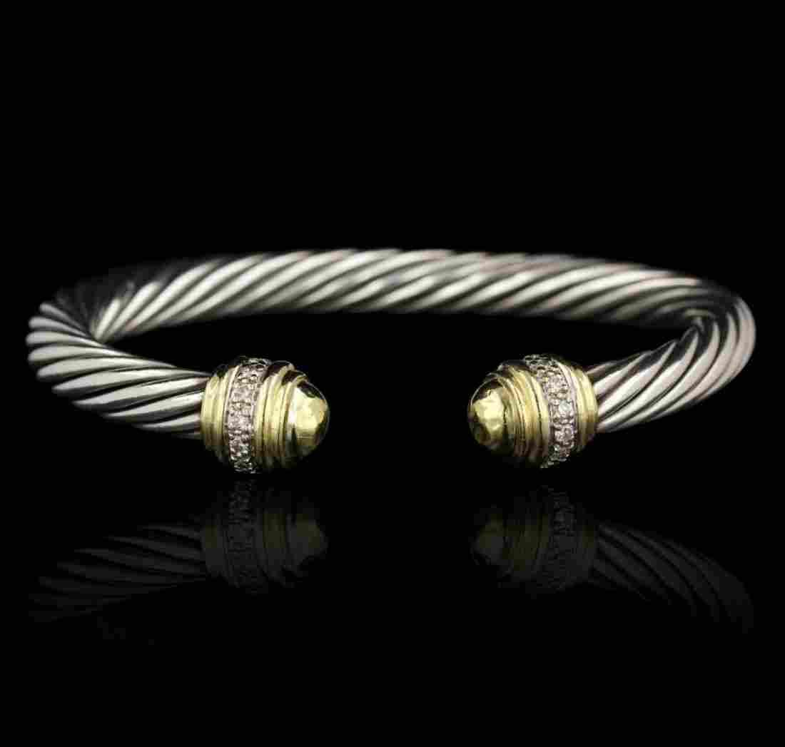 David Yurman Two-Tone Diamond Cable Buckle Bracelet