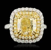 18KT Two-Tone Gold 5.01ct VS-1/Light Yellow Diamond