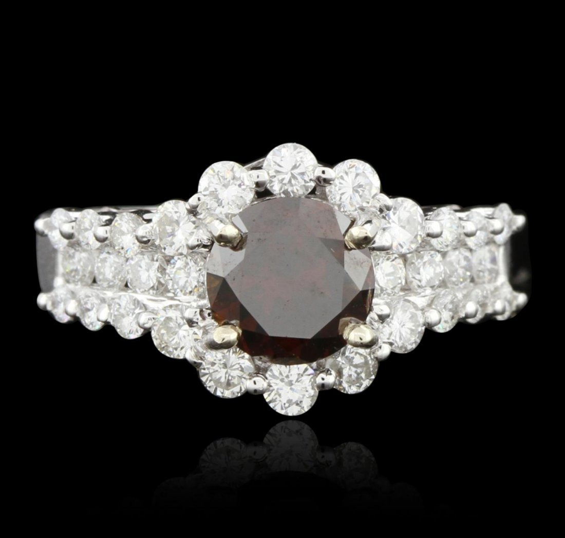 14KT White Gold 1.58ct GIA Certified Orangy Brown
