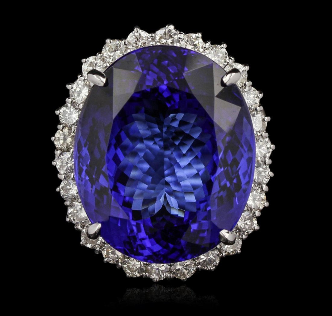14KT White Gold 51.06ct GIA Certified Tanzanite and