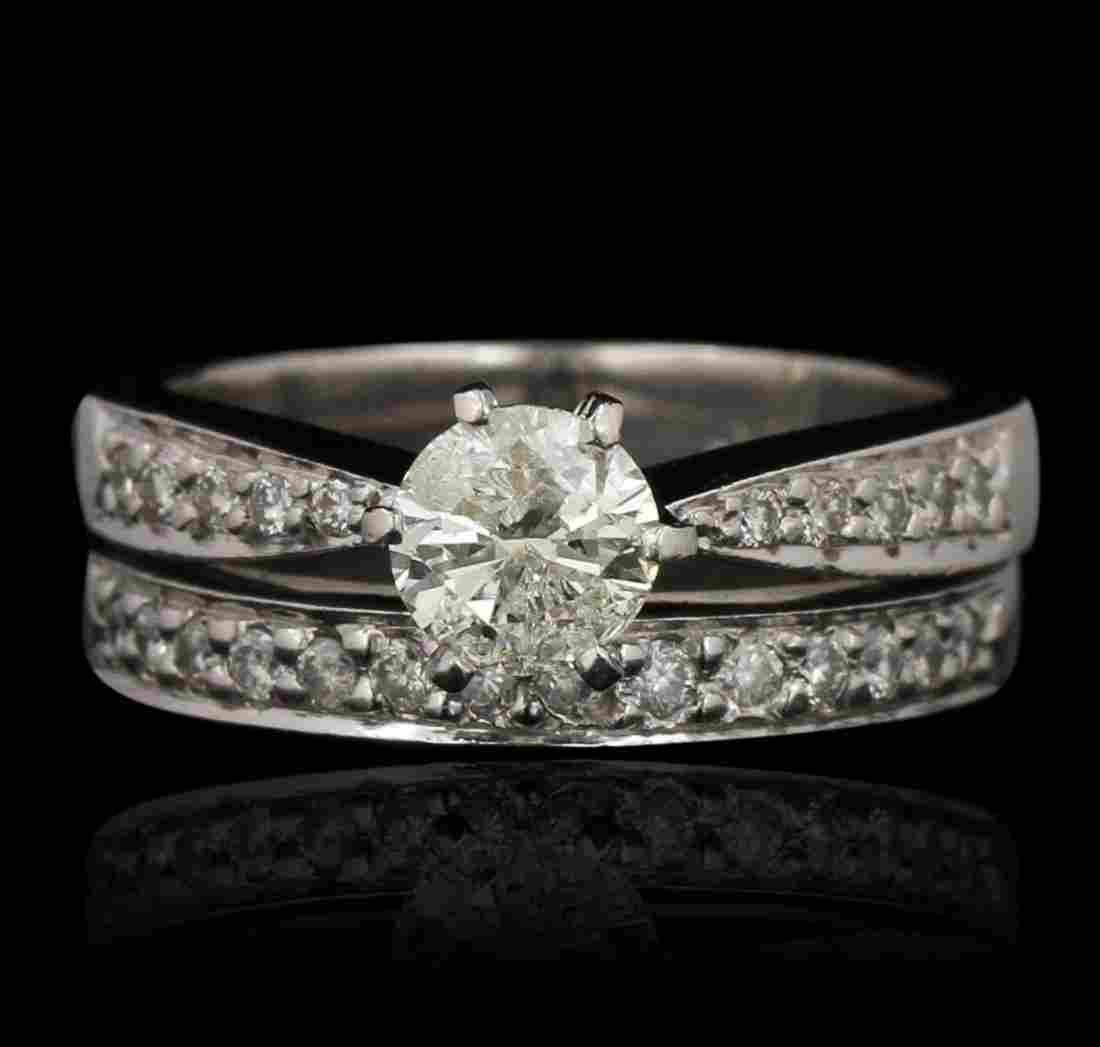 Platinum 1.00ct I-1/K Diamond Wedding Ring Set GB3522