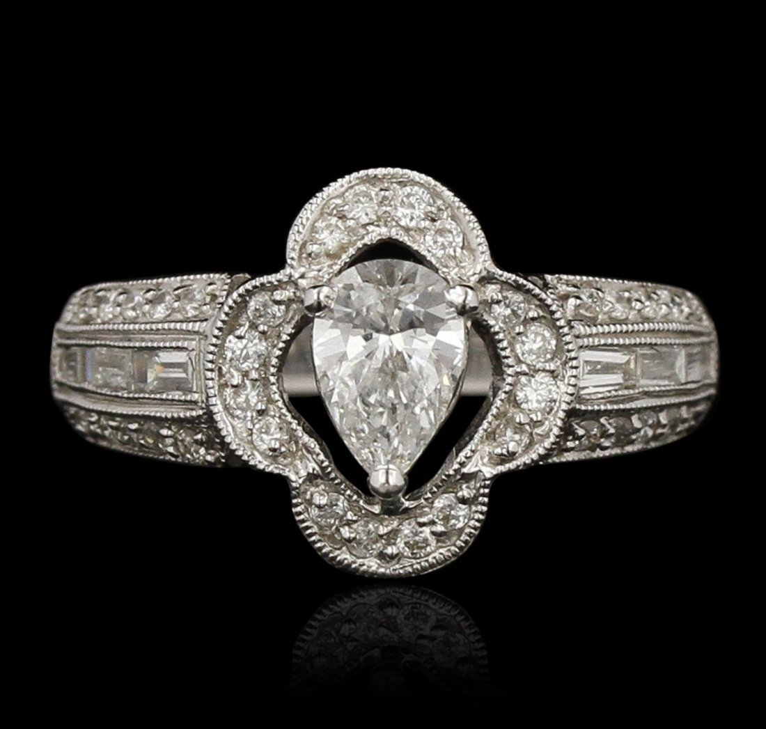 18KT White Gold 1.09ctw Diamond Engagement Ring LAJB100