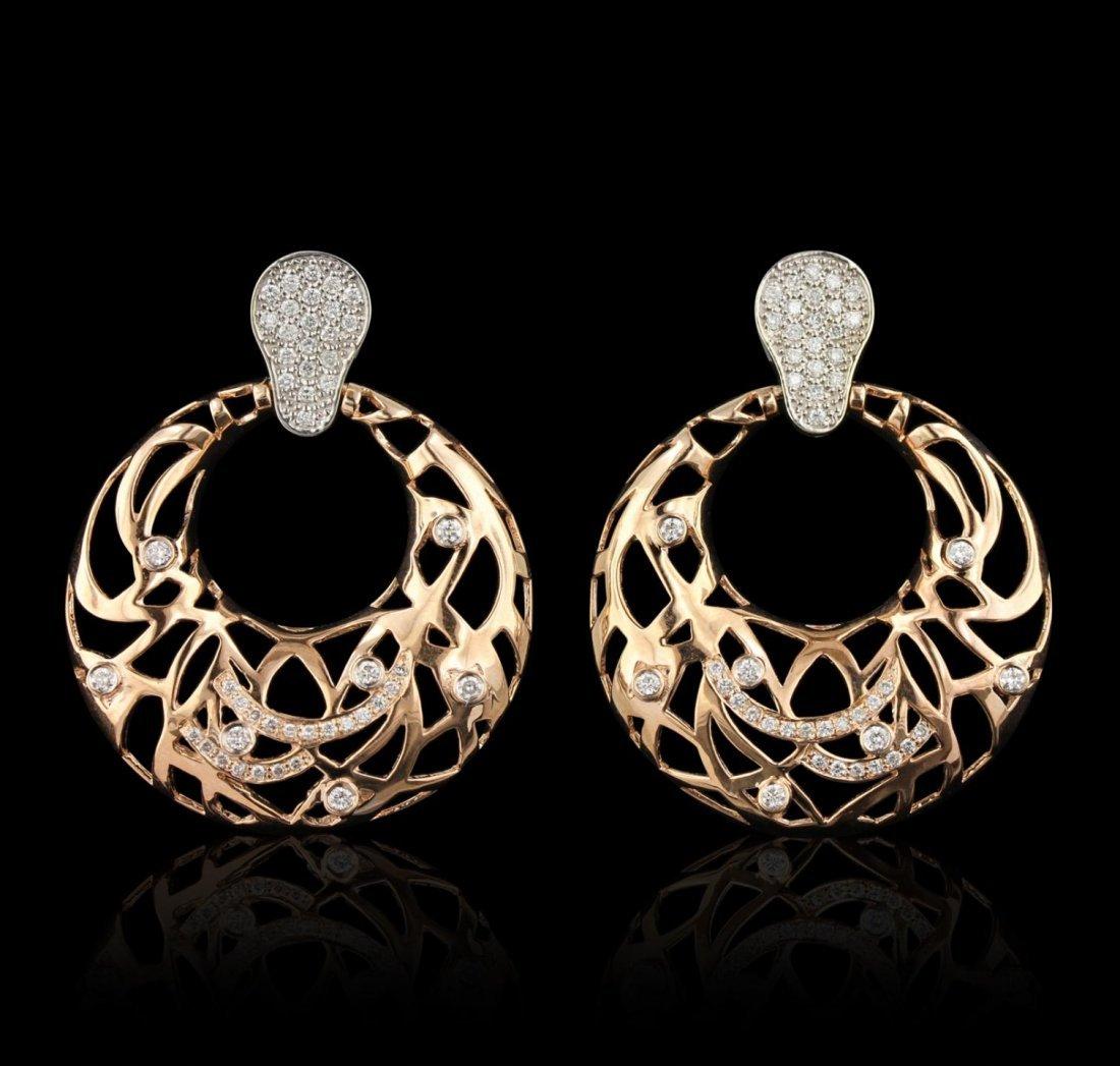 14KT Rose Gold 0.88ctw Diamond Earrings A6875