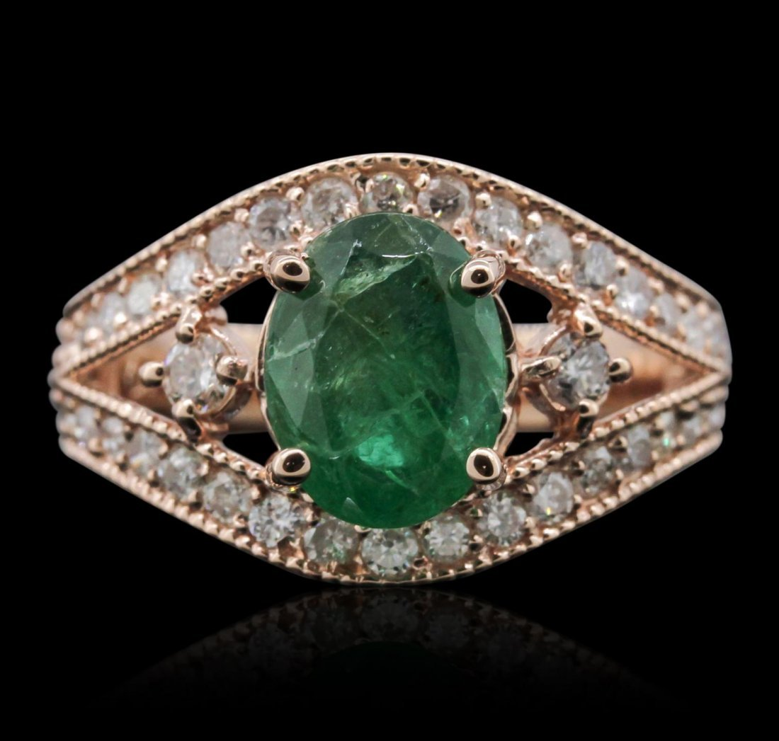 14KT Rose Gold 1.90ct Emerald and Diamond Ring A8141