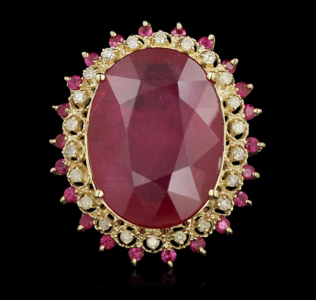 14KT White Gold 32.6ct Ruby and Diamond Ring RM1768