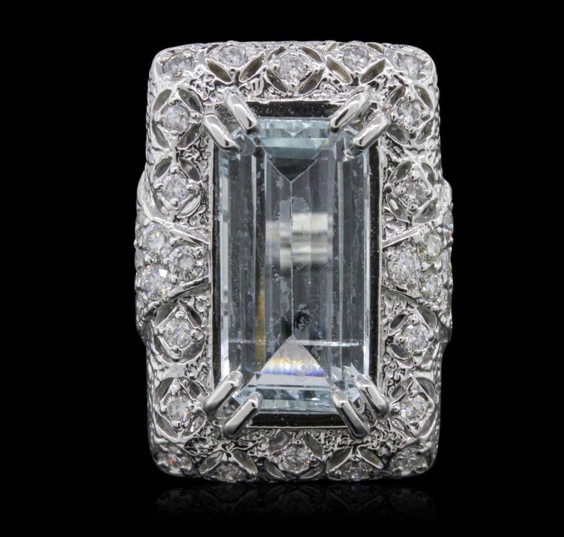 14KT White Gold 7.40ct Aquamarine and Diamond Ring