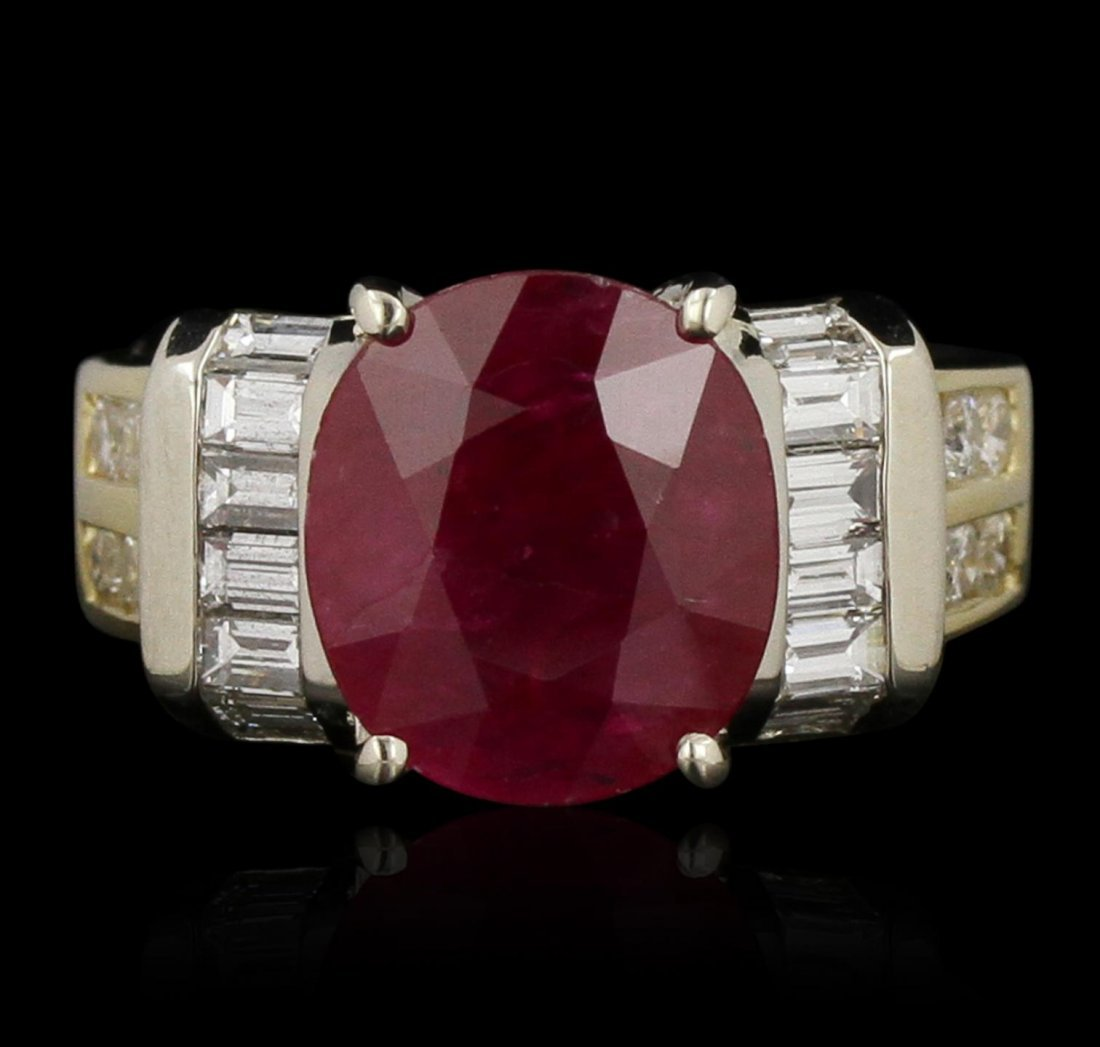 14KT Yellow Gold 3.60ct Ruby and Diamond Ring GB3539