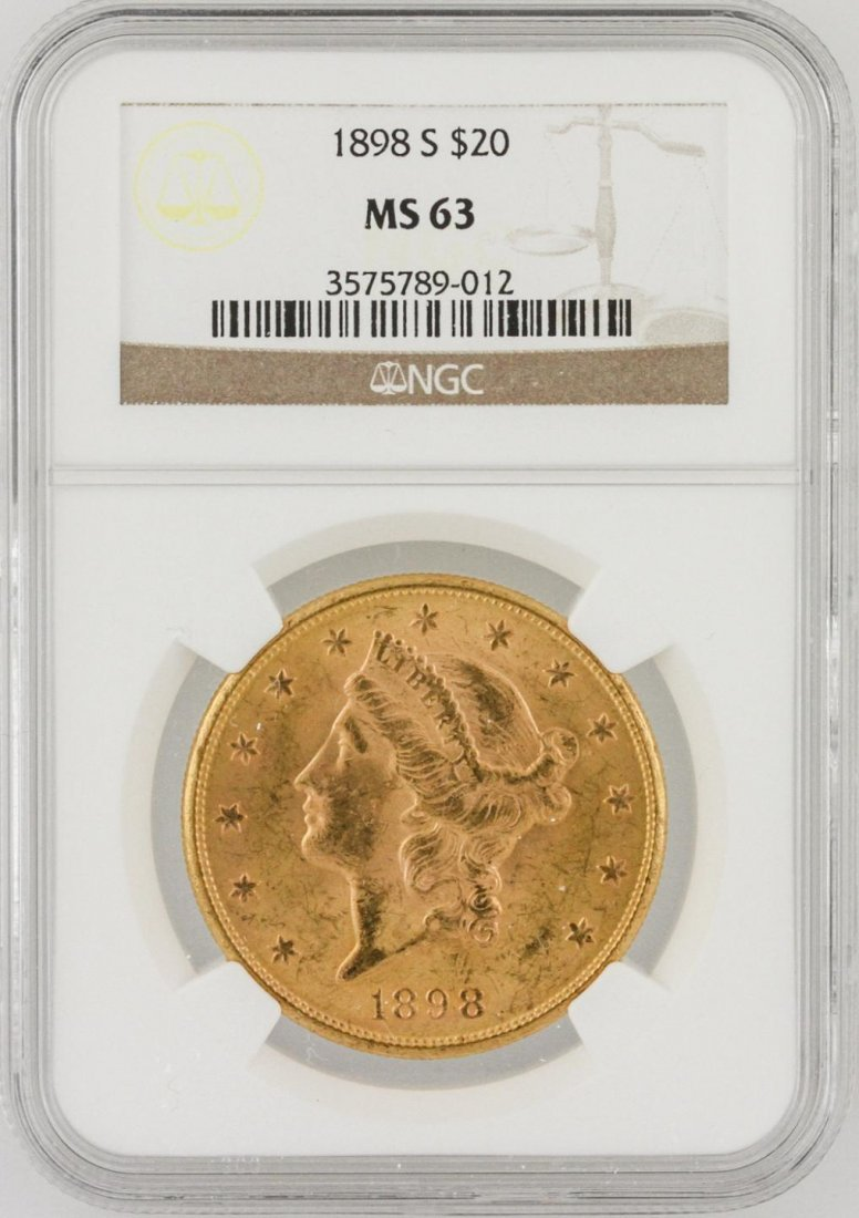 1898 S $20 MS 63 Liberty Head Double Eagle Gold Coin