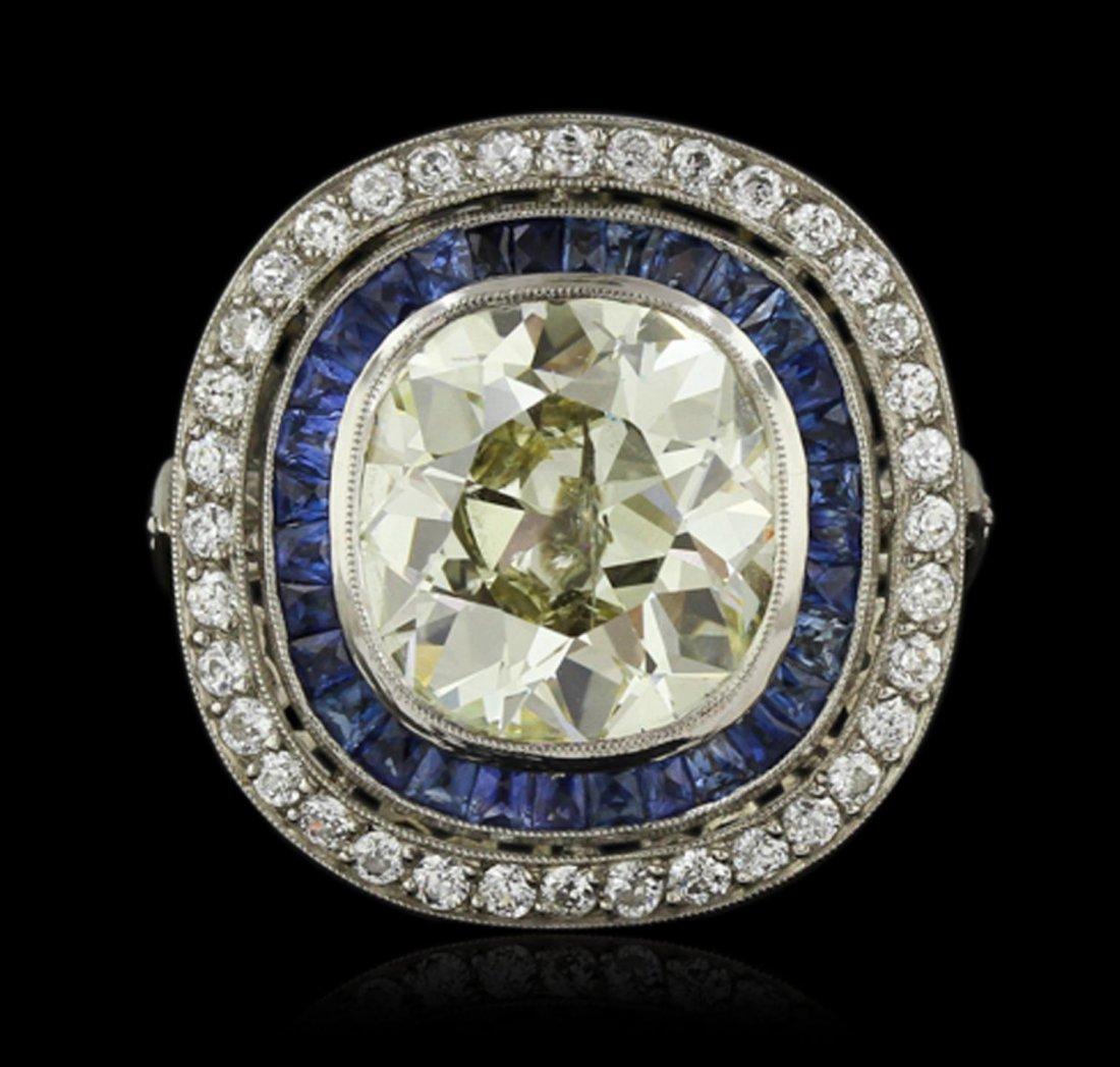Platinum 10.05ct Diamond and Sapphire Ring A8570