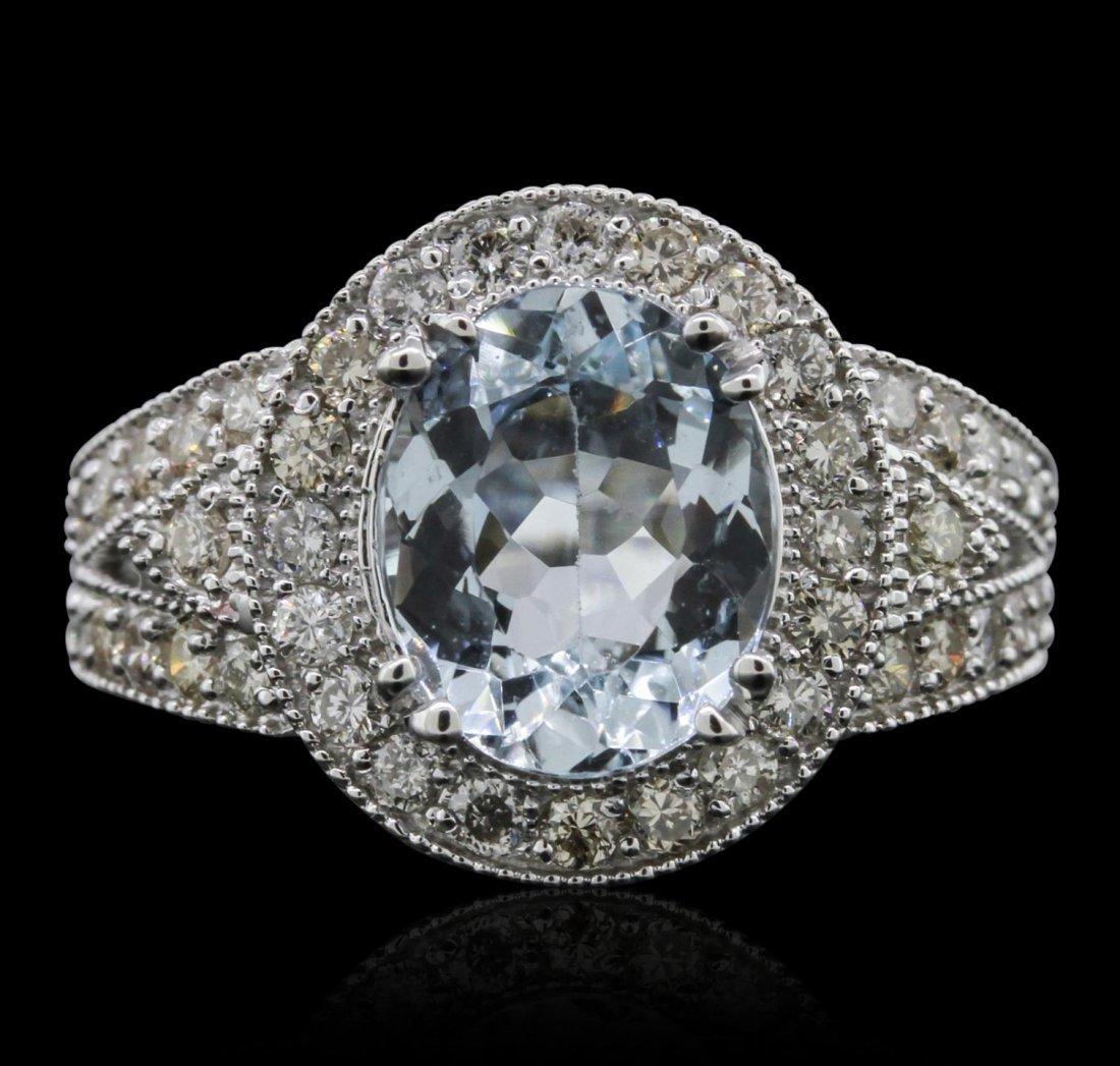 14KT White Gold 2.64ct Aquamarine and Diamond Ring