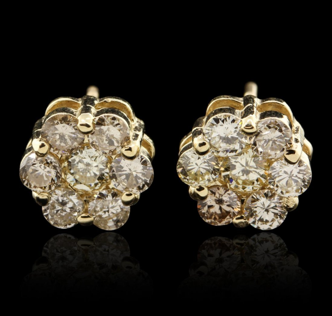14KT Yellow Gold 1.57ctw Diamond Earrings GB4515