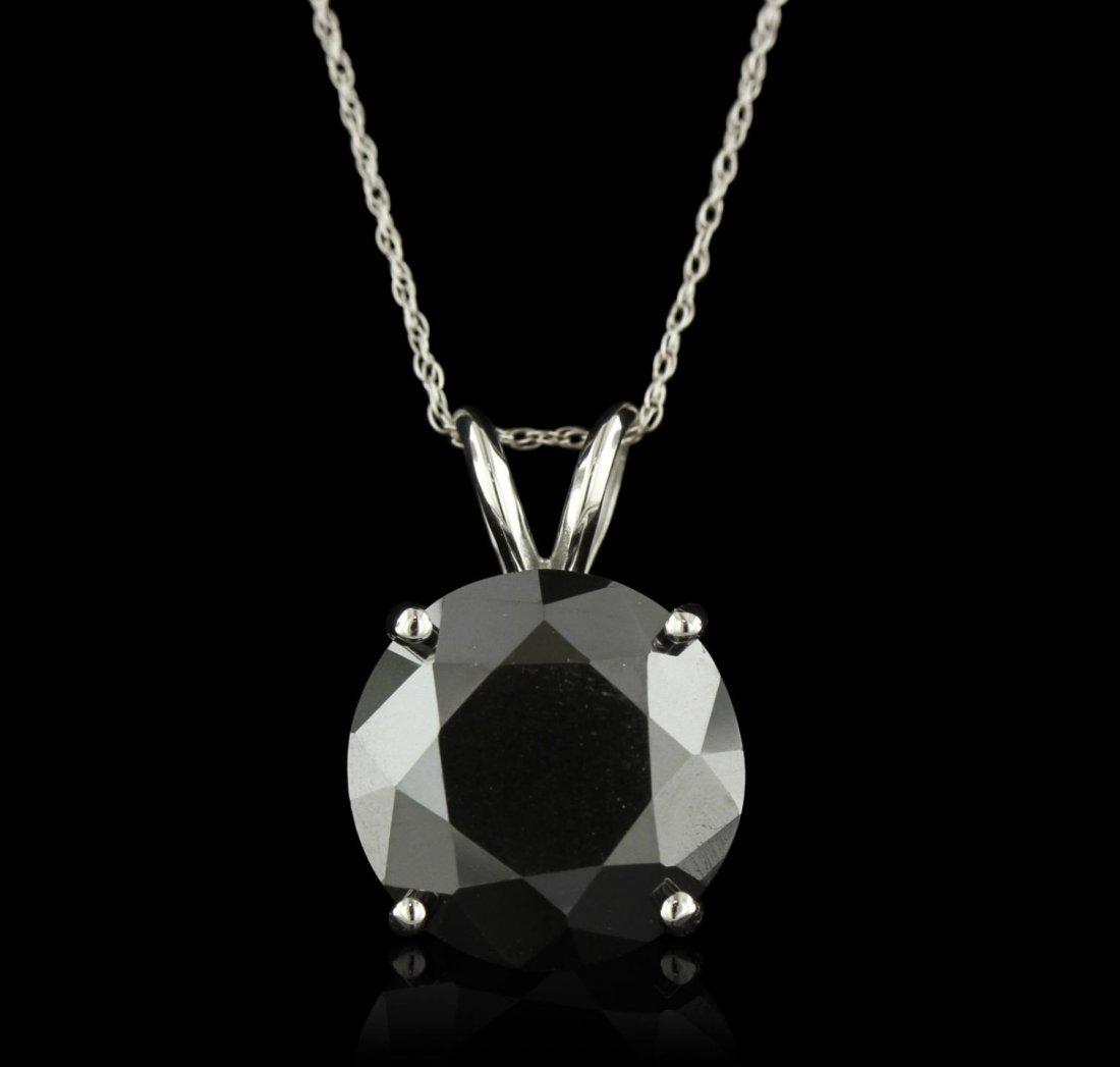 14KT White Gold 9.79ct Black Diamond Pendant With Chain