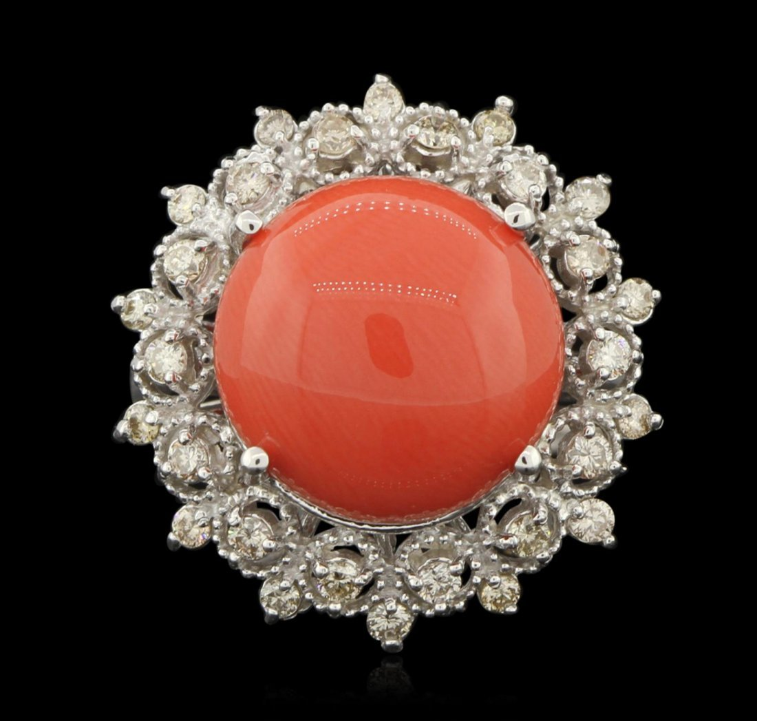 14KT White Gold 7.25ct Coral and Diamond Ring A6242