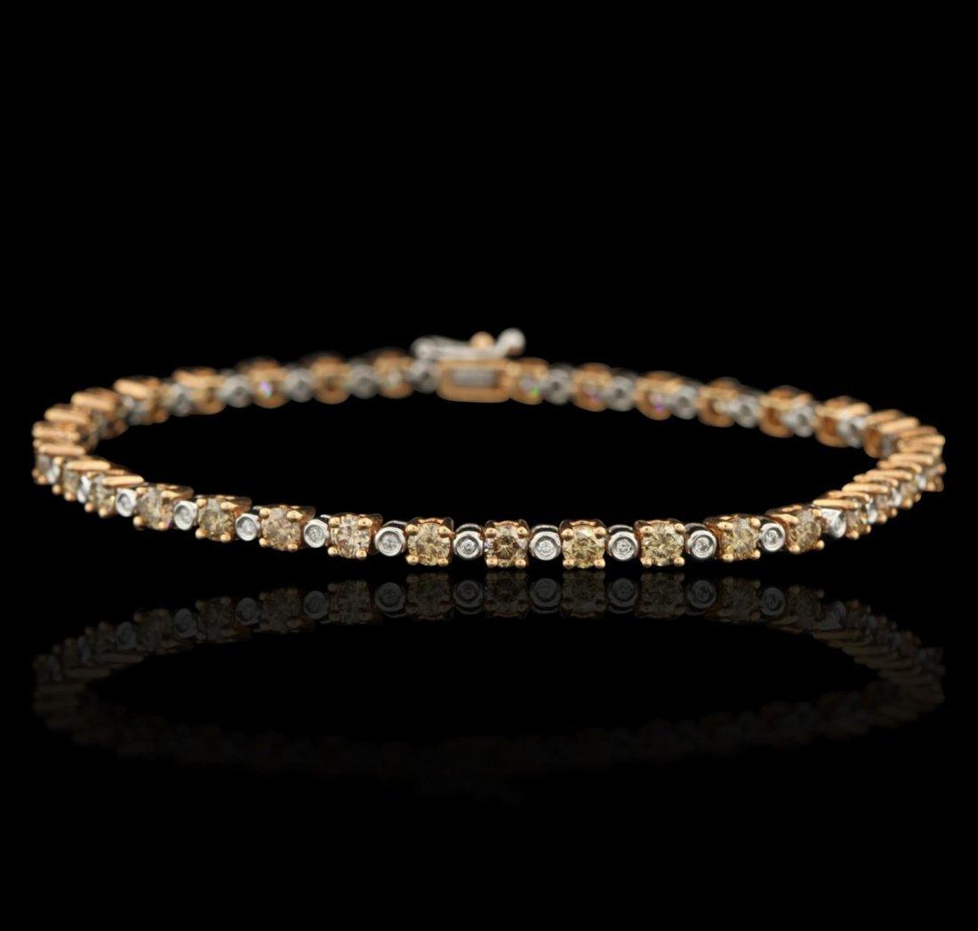 14KT Two Tone Gold 3.66ct Brown Diamond Bracelet CRJ89