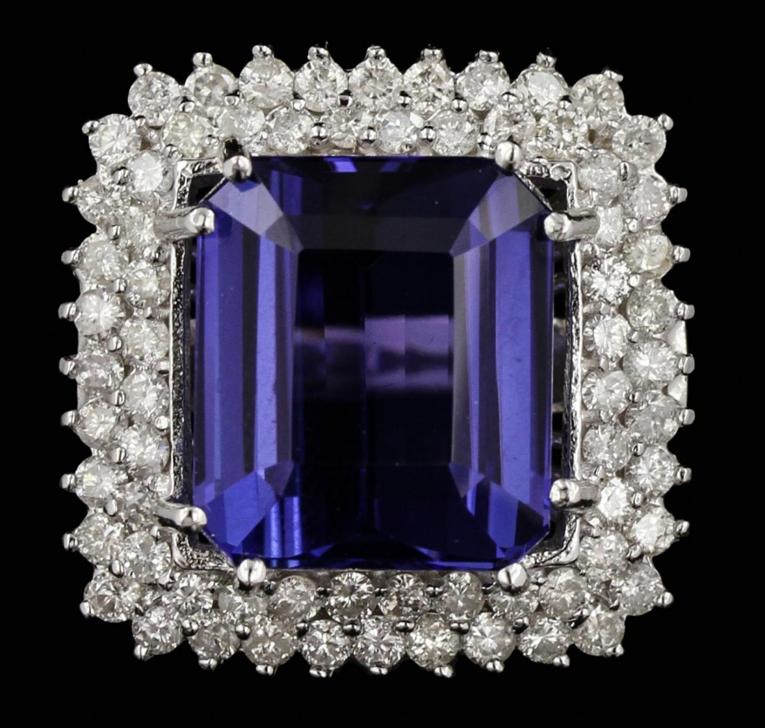 14KT White Gold 17.28ct GIA Certified Tanzanite and
