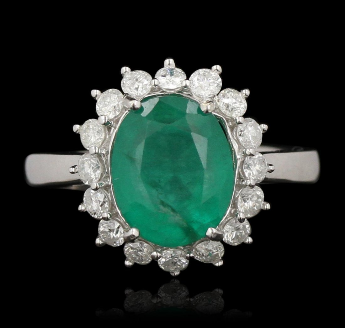 14KT White Gold 3.36ct Emerald and Diamond Ring A6534