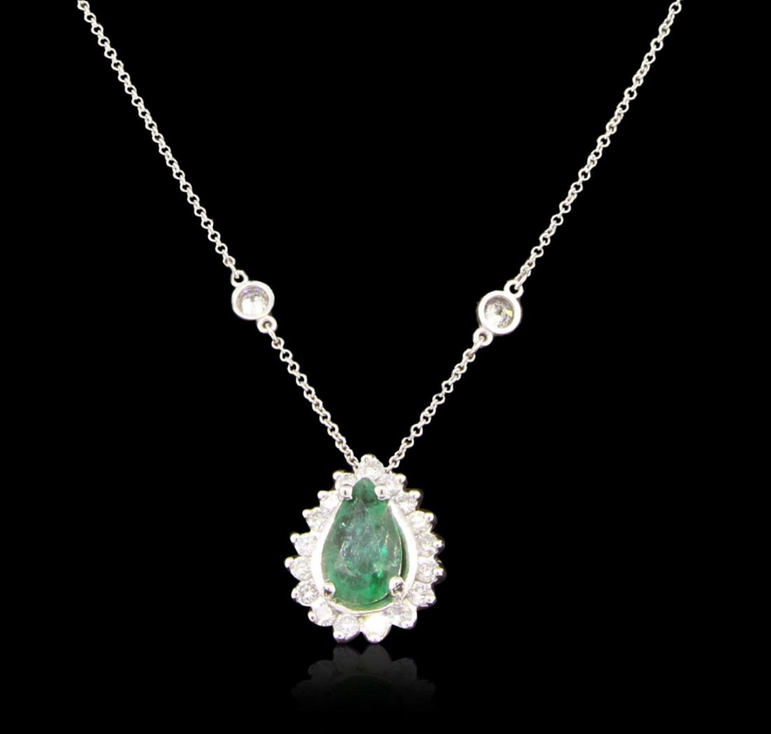 14KT White Gold 1.55ct Emerald and Diamond Necklace
