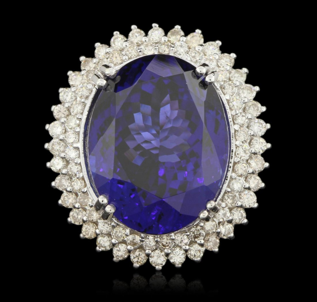 14KT White Gold 36.81ct GIA Cert Tanzanite and Diamond