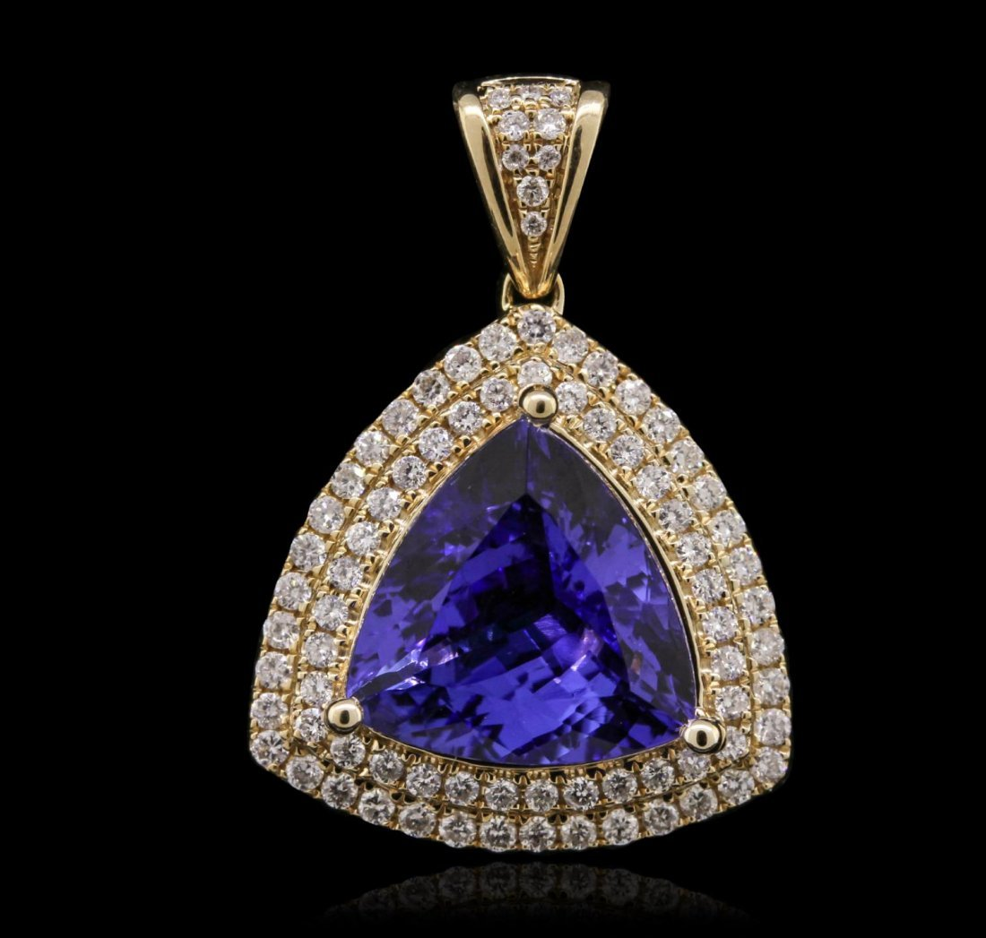 14KT Yellow Gold 6.85ct Tanzanite and Diamond Pendant