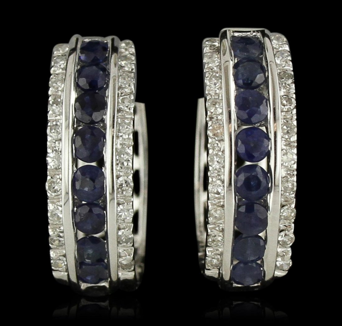 14KT White Gold 1.02ctw Sapphire and Diamond Earrings
