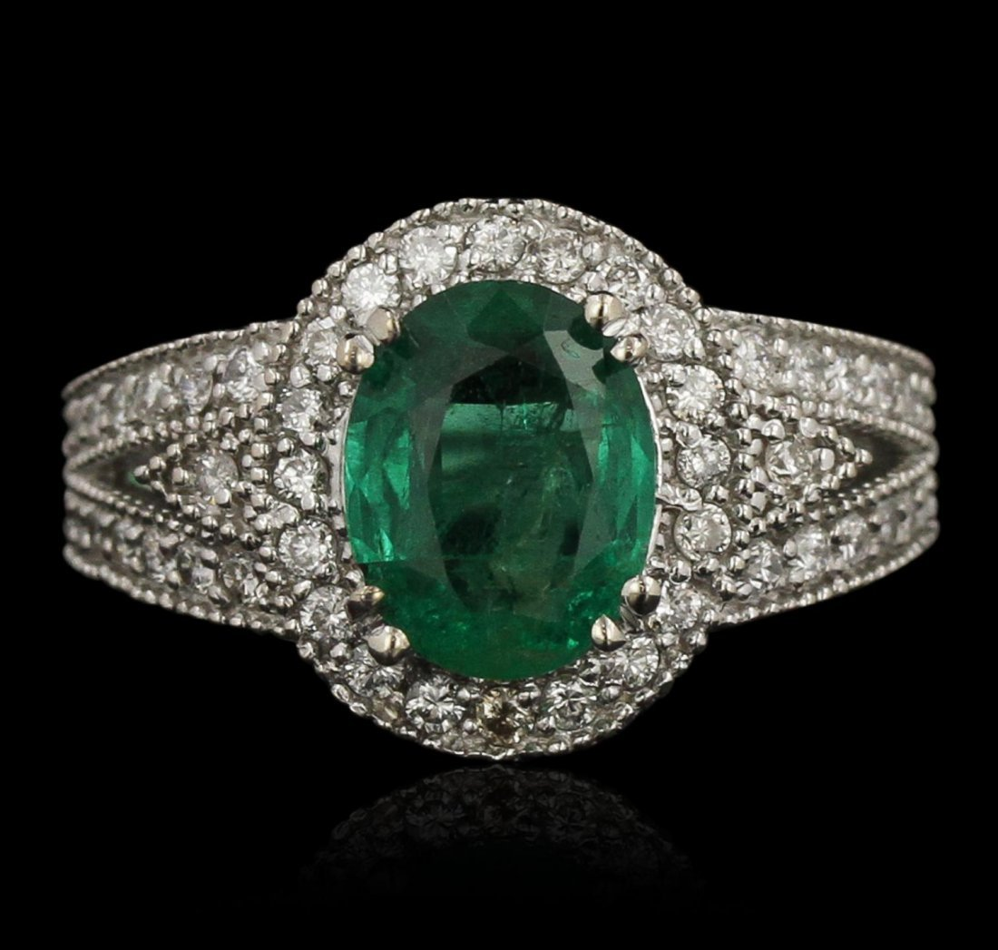 14KT White Gold 2.12ct Emerald and Diamond Ring A7519