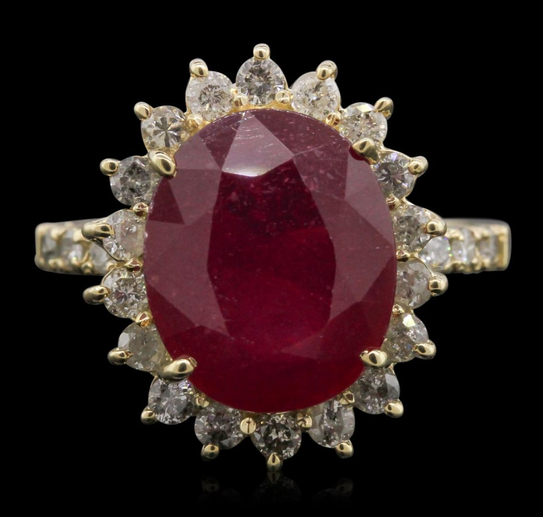 14KT Yellow Gold 6.90ct Ruby and Diamond Ring RM1987