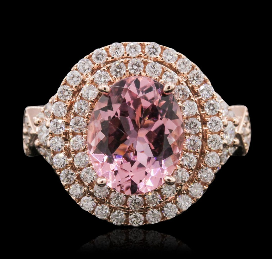 14KT Rose Gold 3.35ct Tourmaline and Diamond Ring A8736