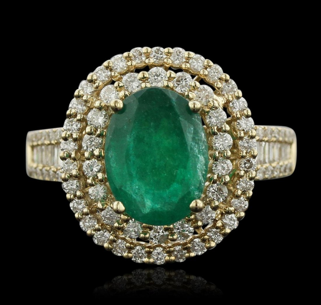 14KT Yellow Gold 2.48ct Emerald and Diamond Ring A8779