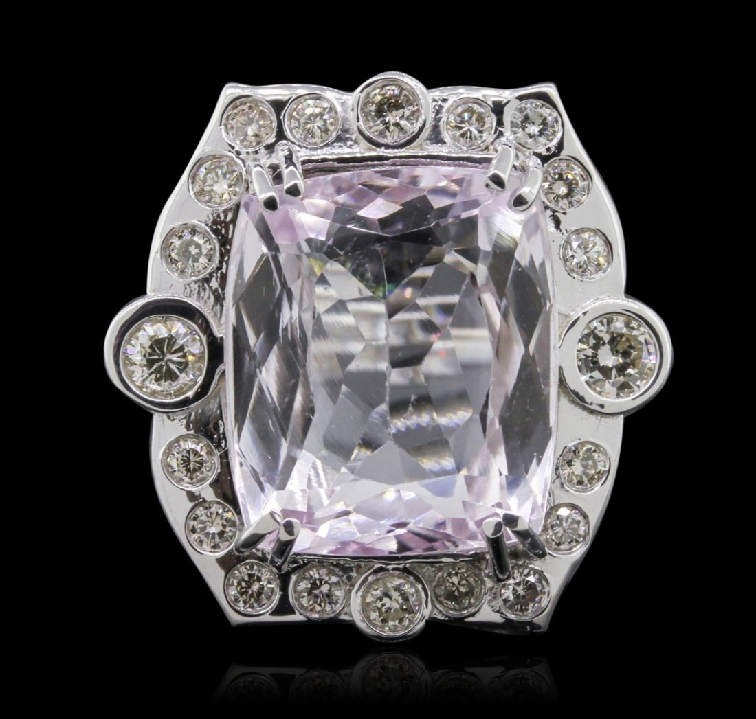 14KT White Gold 22.97ct Kunzite and Diamond Ring A8108