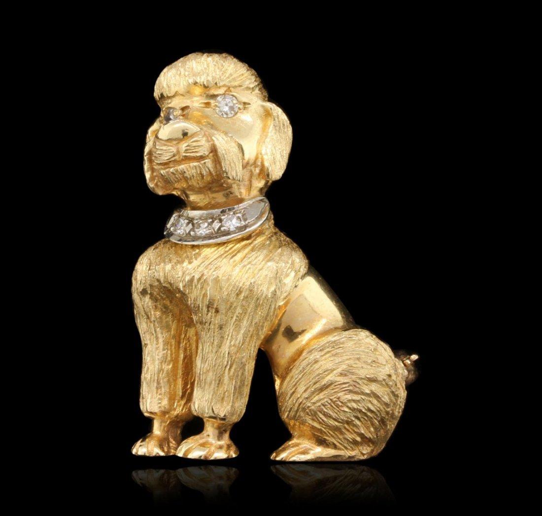 14KT Yellow Gold 0.08ctw Diamond Poodle Brooch JRM409