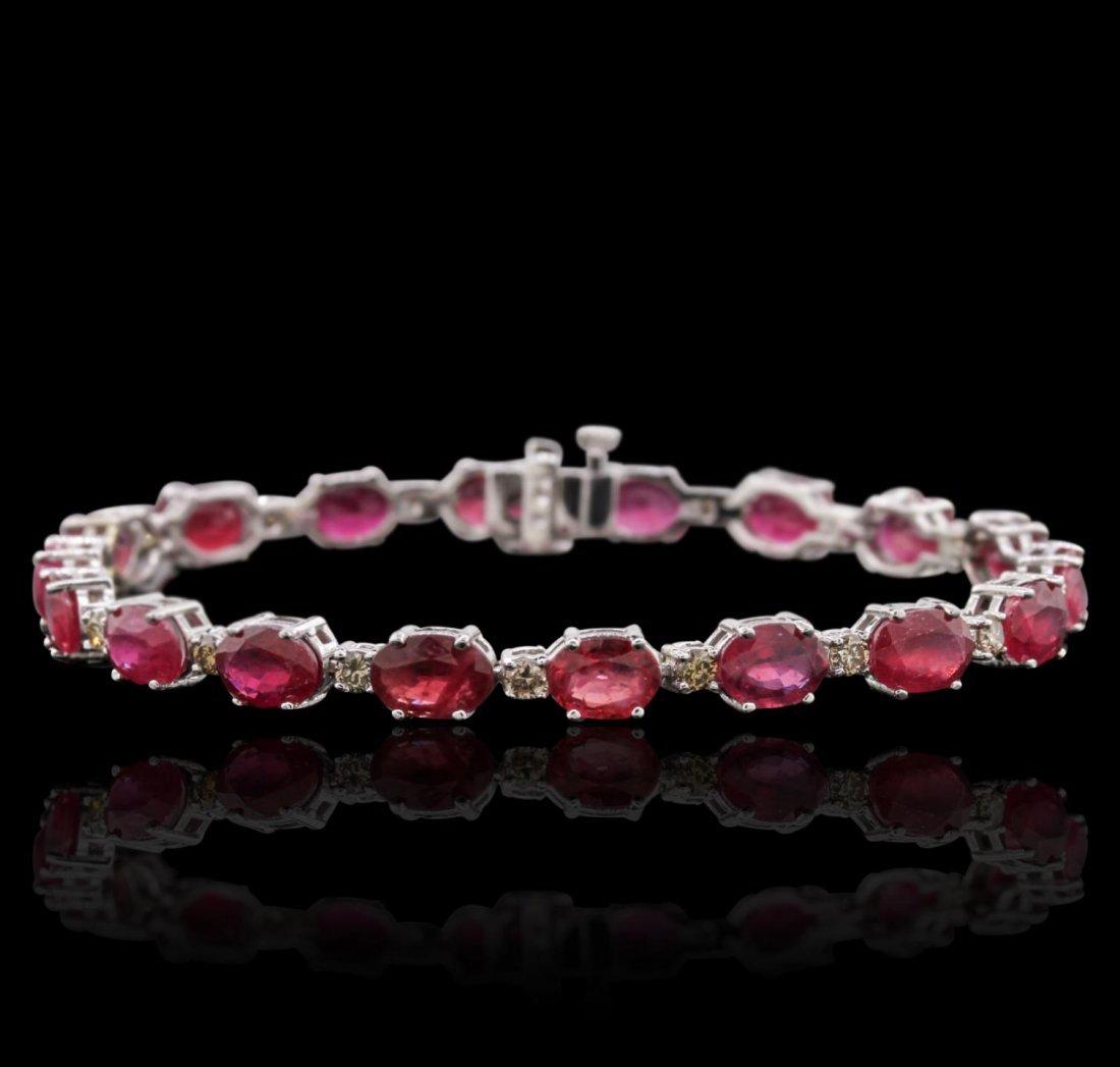 14KT White Gold 18.18ctw Ruby and Diamond Bracelet