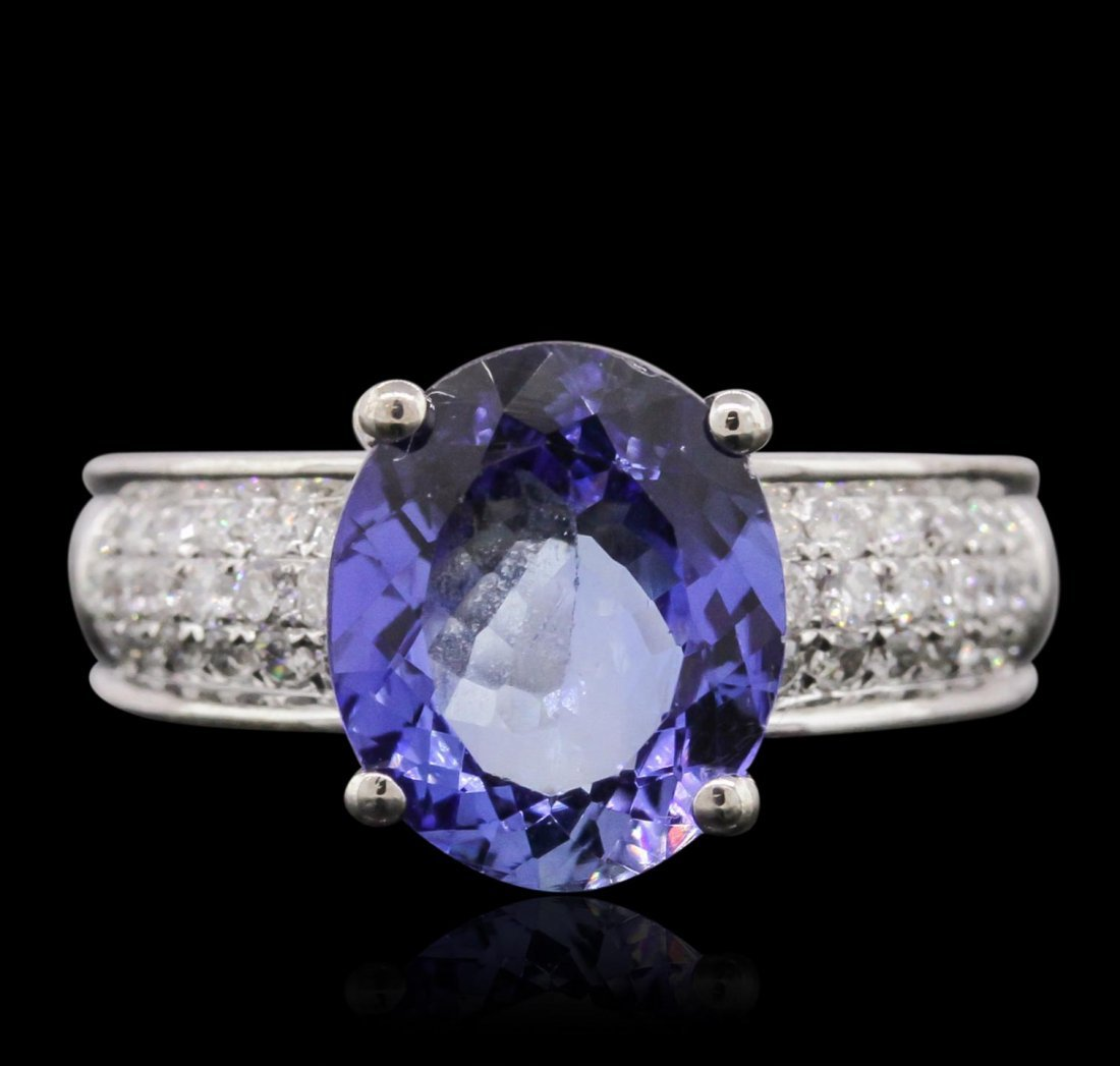 18KT White Gold 3.36ct Tanzanite and Diamond Ring