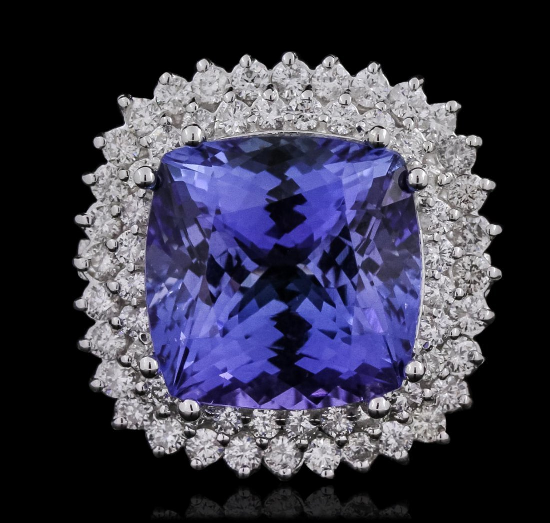 14KT White Gold GIA Certified 14.89ct Tanzanite and
