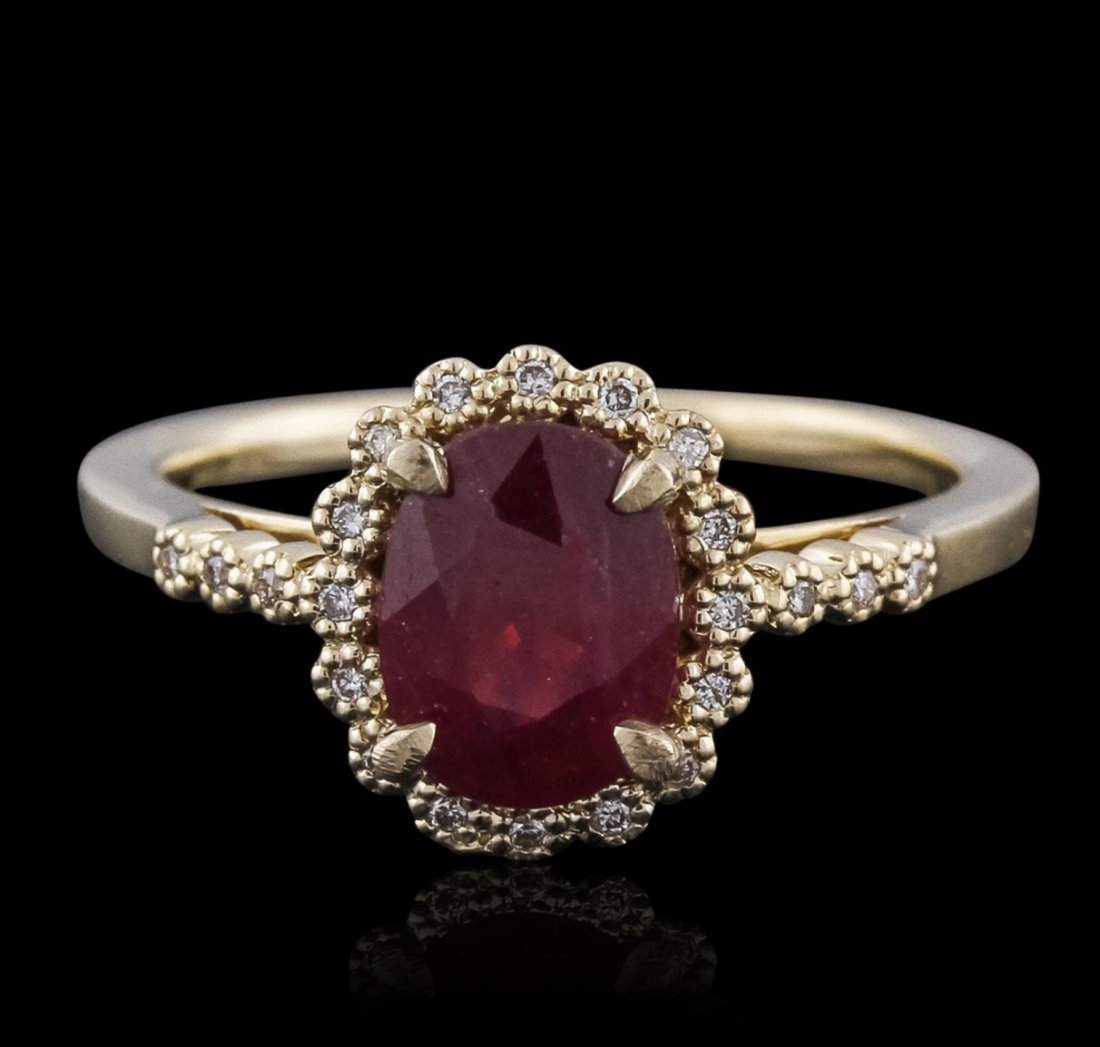 14KT Yellow Gold 1.37ct Ruby and Diamond Ring A10568