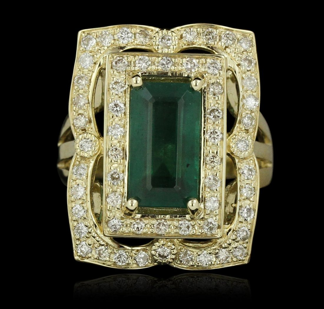 14KT Yellow Gold 3.34ct Emerald and Diamond Ring A8040