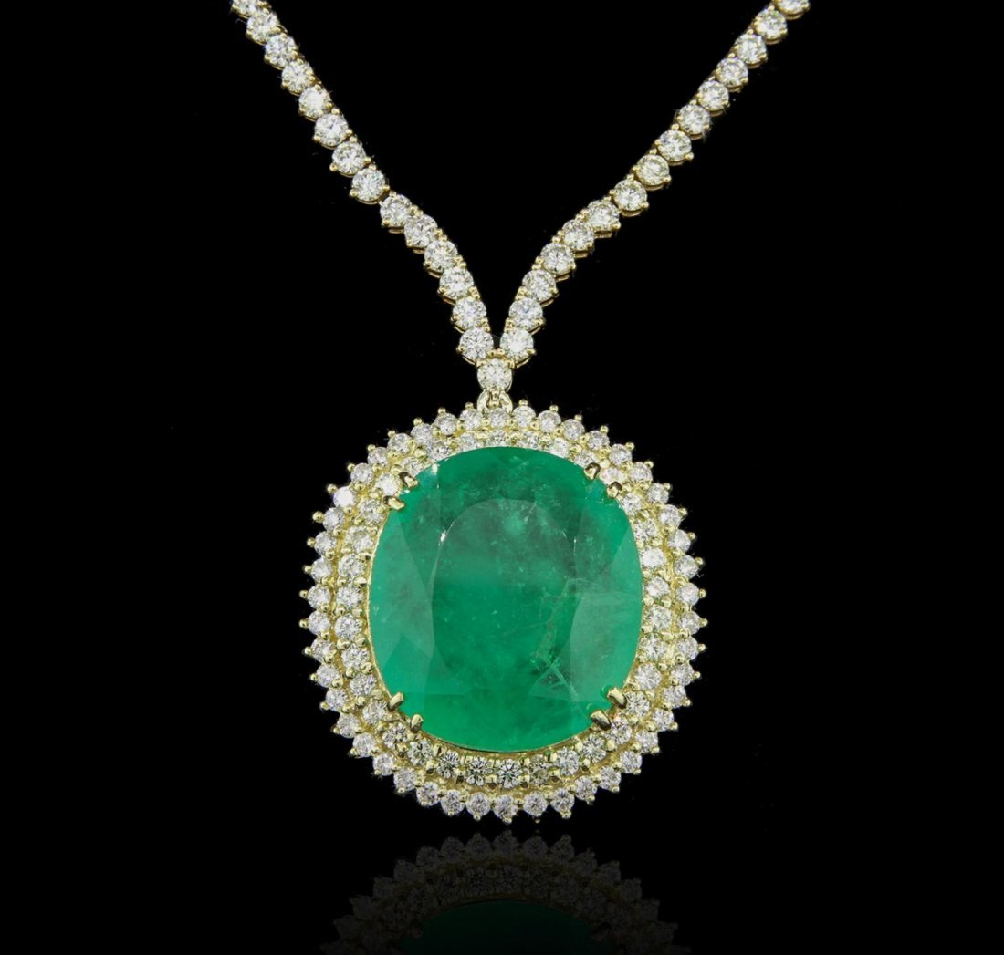 18KT Yellow Gold 38.31ct Emerald and Diamond Necklace